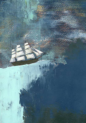 Pirate Ship Painting - The Dark Blue Ocean by Sarah Ogren