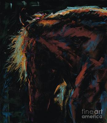 Abstract Equine Art Painting - The Dark Horse by Frances Marino