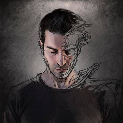 Self Portrait Wall Art - Photograph - The Dark Side Of The Sketch by Sebastien Del Grosso