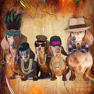 Dachshund Art Mixed Media - The Dachshund Family by Marvin Blaine