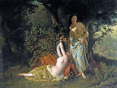 Puebla Painting - The Daughters Of El Cid by Dioscoro Teofilo Puebla Tolin