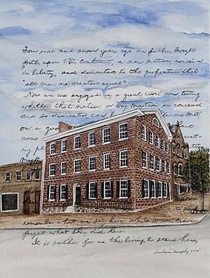 Gettysburg Address Painting - The David Wills House 1816 by Barbara Murphy