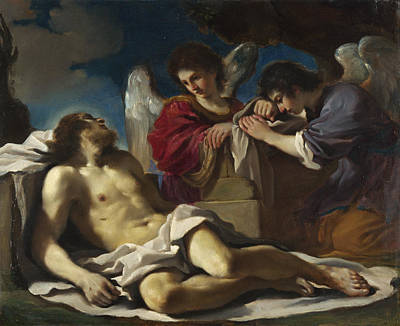 Guercino Painting - The Dead Christ Mourned By Two Angels by Guercino