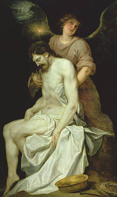 The Dead Christ Supported By An Angel Art Print by Alonso Cano