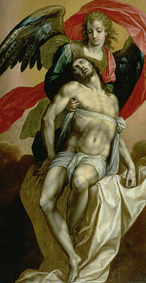 The Dead Christ Supported By An Angel  Art Print by Jacques de Backer