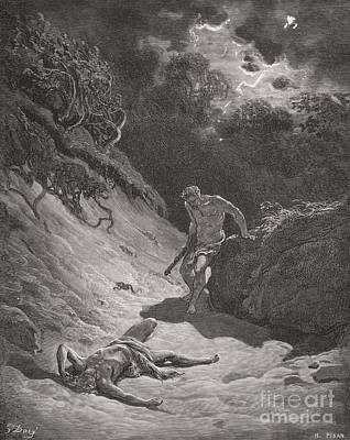 Engraving Drawing - The Death Of Abel by Gustave Dore