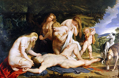 Sadness Painting - The Death Of Adonis C.1614 by Peter Paul Rubens