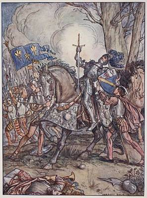 Knight Drawing - The Death Of Bayard, Illustration by Herbert Cole