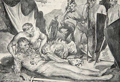Bacon Drawing - The Death Of Beowulf by John Henry Frederick Bacon