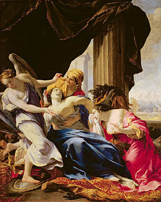 Sadness Photograph - The Death Of Dido, 1642-43 Oil On Canvas by Simon Vouet