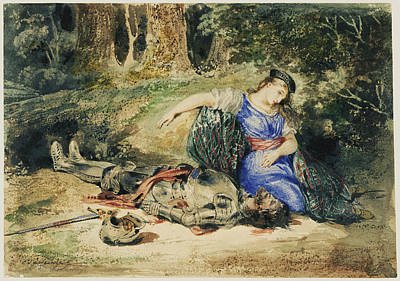 The Death Of Lara Eugène Delacroix, French Art Print by Litz Collection