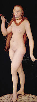 Red Female Nude Painting - The Death Of Lucretia by Lucas the elder Cranach