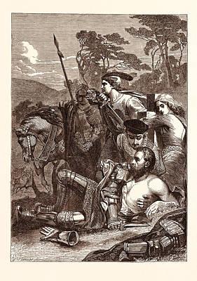 Epic Drawing - The Death Of Marmion. Scott by Armitage, Edward (1817-96), English