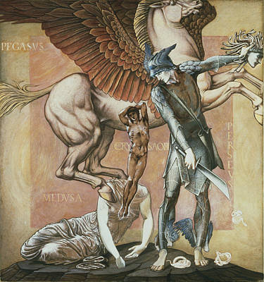 Pegasus Wall Art - Drawing - The Death Of Medusa I, C.1876 by Sir Edward Coley Burne-Jones
