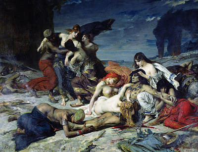 Literature Painting - The Death Of Ravana by Fernand Cormon