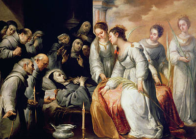 The Death Of Saint Clare Art Print by Bartolome Esteban Murillo