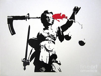 Lady Justice Painting - The Death Of Social Justice By Ar-15 by Noah Nez