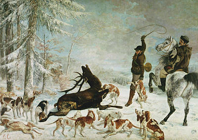 Attack Dog Photograph - The Death Of The Deer, 1867 Oil On Canvas by Gustave Courbet