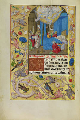 Bible Drawing - The Death Of The Virgin Master Of The Lübeck Bible Bruges by Litz Collection