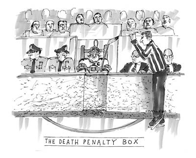 Hockey Drawing - The Death Penalty Box by Michael Crawford