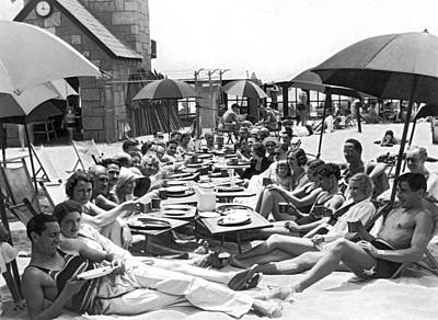 One Piece Swimsuit Photograph - The Deauville Breakfast Club by Underwood Archives