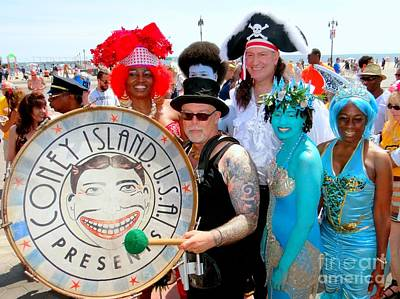 Photograph - The Deblasios At The Mermaid Parade by Ed Weidman