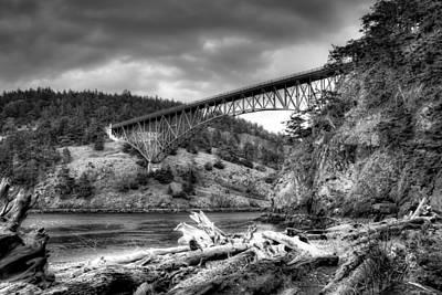 Photograph - The Deception Pass Bridge II Bw by David Patterson