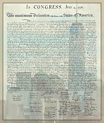 The Declaration Of Independence - Freedom Tower Art Print by Stephen Stookey