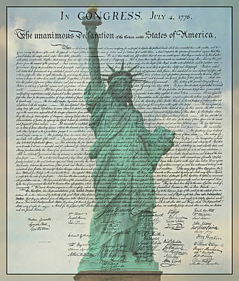 The Declaration Of Independence - Statue Of Liberty Print by Stephen Stookey