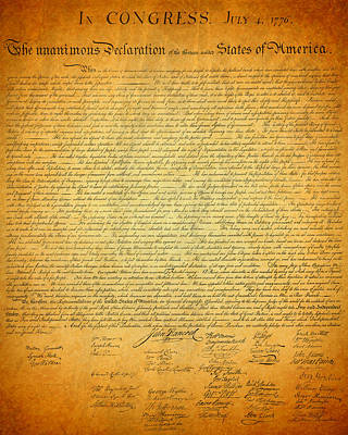 Signed Mixed Media - The Declaration Of Independence - America's Founding Document by Design Turnpike