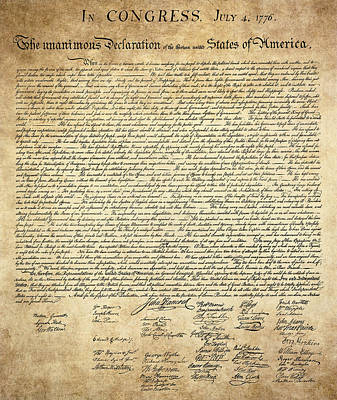 The Declaration Of Independence Art Print by Daniel Hagerman