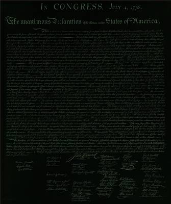 Comedian Drawings - THE DECLARATION OF INDEPENDENCE in NEGATIVE OLIVE by Rob Hans