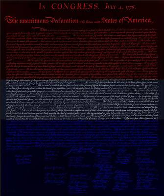 Music Royalty-Free and Rights-Managed Images - THE DECLARATION OF INDEPENDENCE in NEGATIVE R W B 1 by Rob Hans