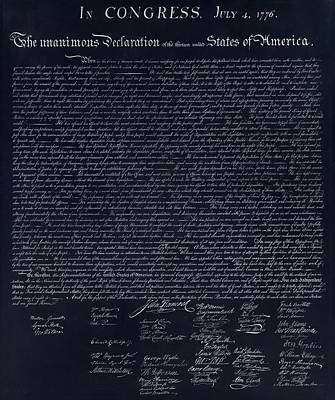 The Declaration Of Independence In Negative  Art Print by Rob Hans