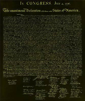 4th July 1776 Photograph - The Declaration Of Independence In Negative Yellow by Rob Hans