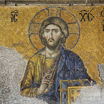 Aya Photograph - The Deisis Mosaic At The Hagia Sophia Museum In Istanbul by Robert Preston