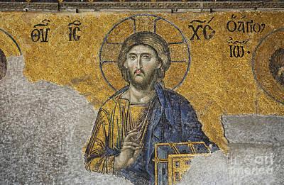 Aya Sofya Photograph - The Deisis Mosaic Showing Jesus Christ Hagia Sophia by Robert Preston