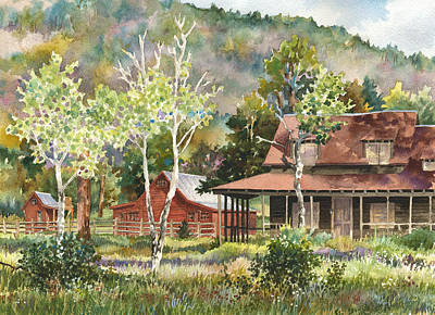 Older Houses Painting - The Delonde Homestead At Caribou Ranch by Anne Gifford