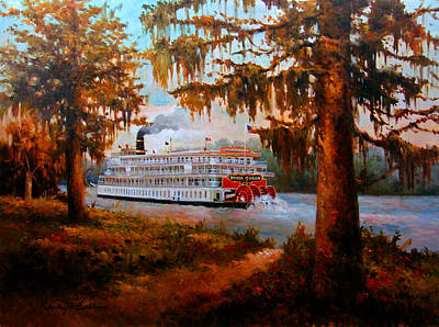 Painting - The Delta Queen - The Legendary Louisiana Steamboat by Kanayo Ede