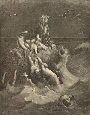 Yahweh Drawing - The Deluge by Antique Engravings