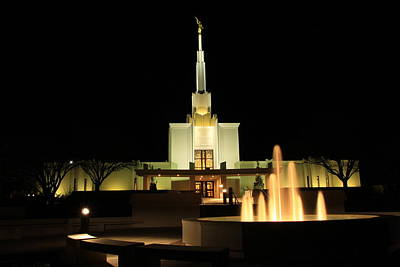 The Denver Temple At Night 13 Original