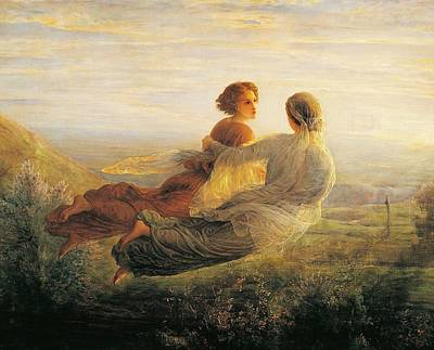 Women Together Painting - The Departure Of The Soul by Louis Janmot