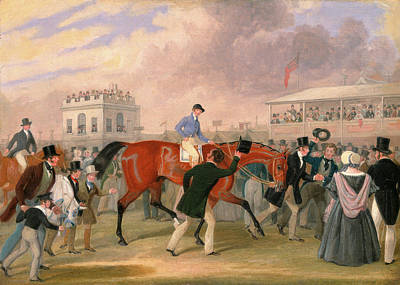 Sporting Event Painting - The Derby Pets The Winner Signed, Lower Left J by Litz Collection