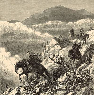 Maine Roads Drawing - The Descent From Mount Washington by Antique Engravings