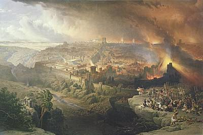 Temple Drawing - The Destruction Of Jerusalem In 70 Ad by David Roberts