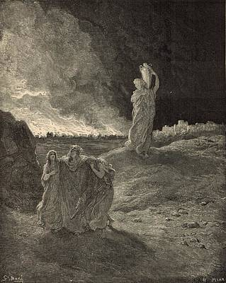 Yahweh Drawing - The Destruction Of Sodom by Antique Engravings