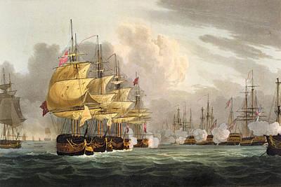 The Destruction Of The Danish Fleet Art Print by Thomas Whitcombe