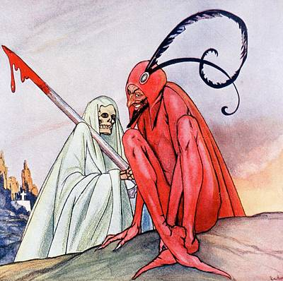 The Devil And Death. Illustration By Echea From La Esfera, 1914 Art Print by Echea