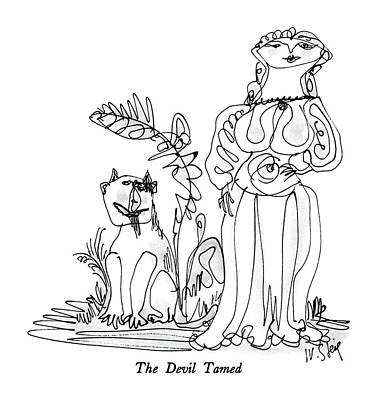 Devil Drawing - The Devil Tamed by William Steig