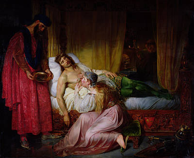 Deathbed Photograph - The Devotion Of Princess Sybille, 1832 Oil On Canvas by Felix Auvray